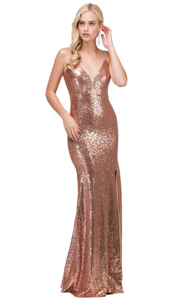 Fitted Sequined Sleeveless Prom Gown