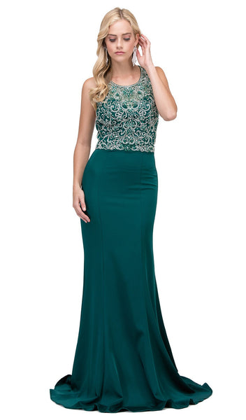 Bedazzled Illusion Halter Sheath Prom Dress - ADASA