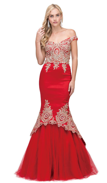 Lace Appliqued Portrait Mermaid Prom Gown