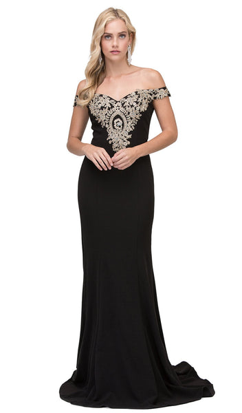 Gilded Off-Shoulder Fitted Prom Gown