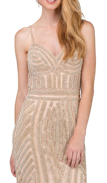 Sleeveless Metallic Sheath Prom Gown