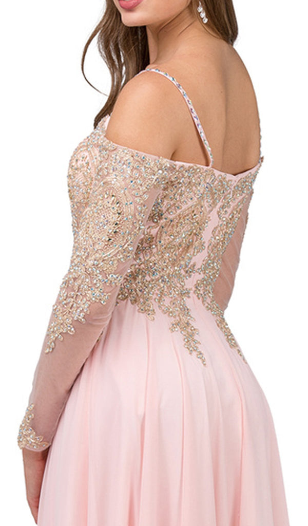 Appliqued Sheer Long Sleeves A-Line Prom Gown - ADASA