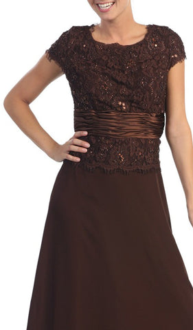 Short Sleeve Chiffon Lace Long Formal Gown