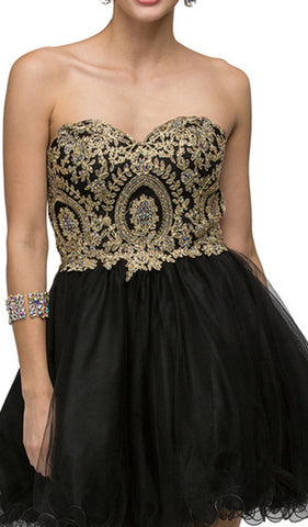 Strapless Embroidered Corset Short Prom Dress