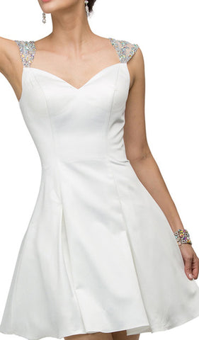 Jeweled Cap Sleeve Sweetheart Satin Cocktail Dress