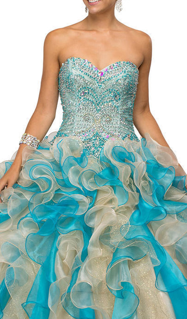 Shimmering Strapless Ruffled Quinceanera Ballgown