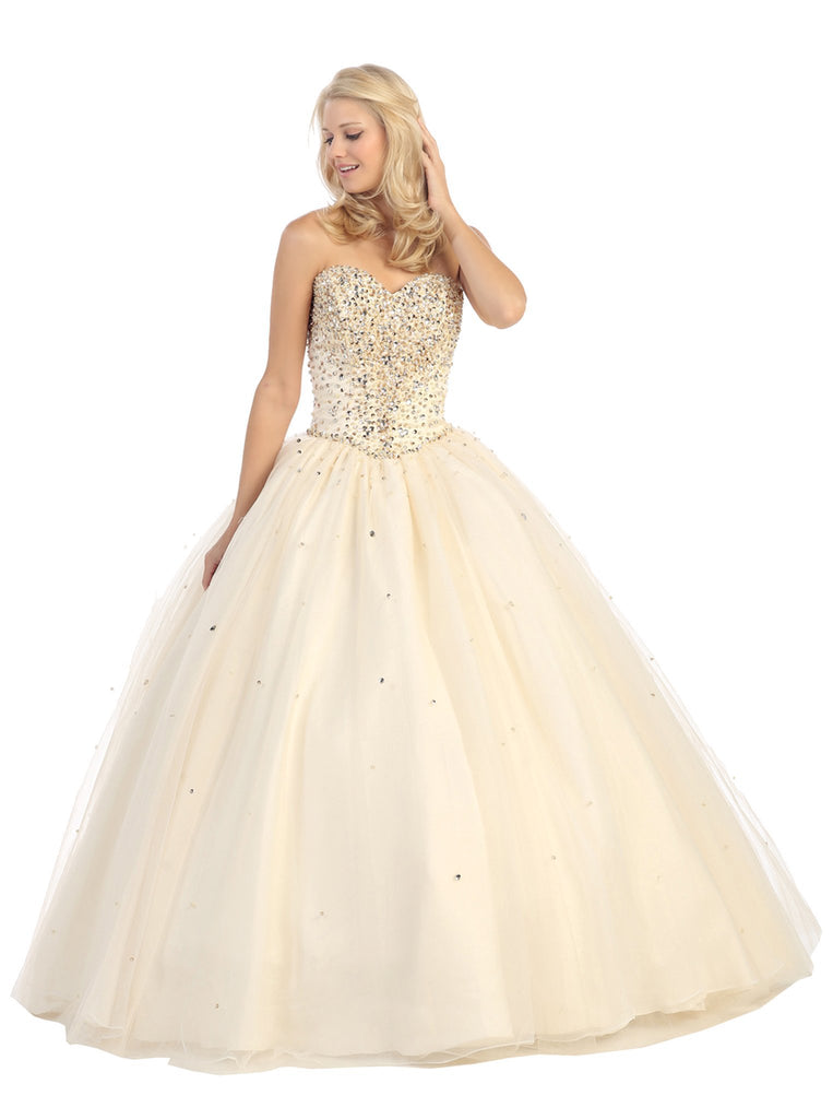 Strapless Sweetheart Jewel Crusted Evening Gown