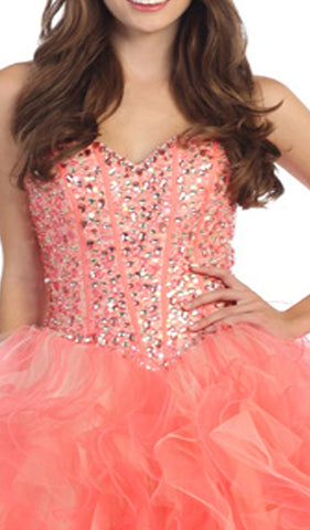 Strapless Sweetheart Bejeweled Corset Evening Gown