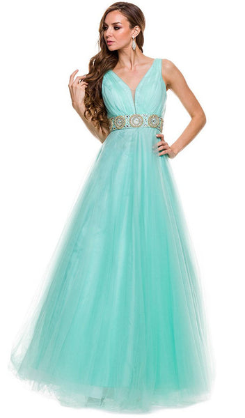 Sleeveless Ruched A-Line Long Gown