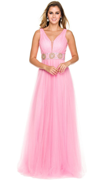 Nox Anabel - 3134 Sleeveless Ruched A-Line Long Gown