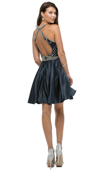 Rhinestone Embellished Bodice Homecoming Dress