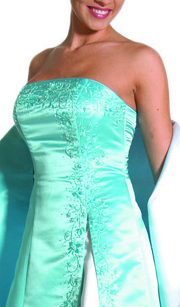 Strapless Beaded Underlay A-Line Gown