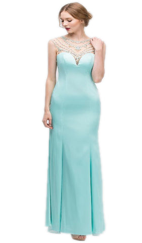 Cap Sleeve Crystal Adorned Illusion Satin Evening Gown - ADASA