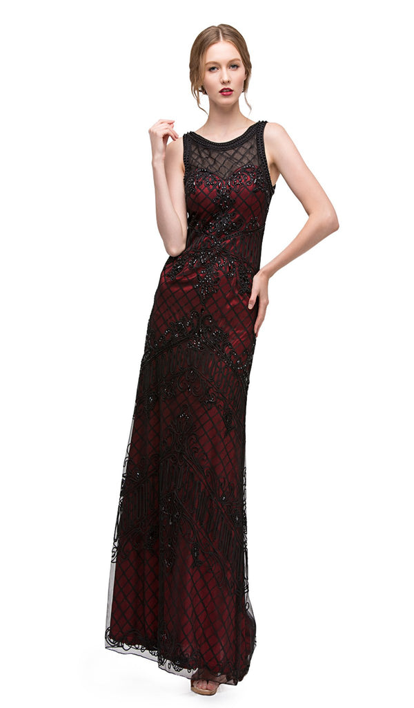 Lattice Motif Illusion Bateau Soutache Evening Gown