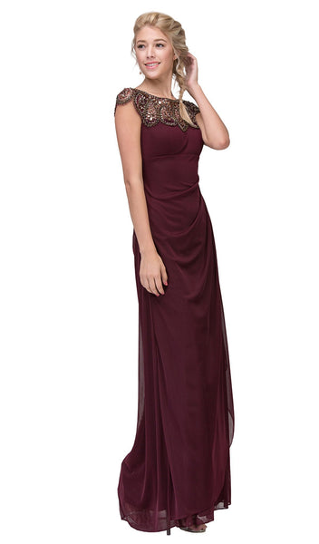 Teardrop Beaded Illusion Bateau Sheath Evening Gown