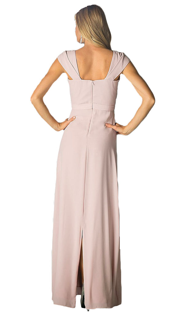 Cap Sleeve Pleated Bodice A-Line Long Formal Dress - ADASA