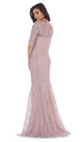 Lace Adorned Quarter Sleeve Mermaid Evening Dress