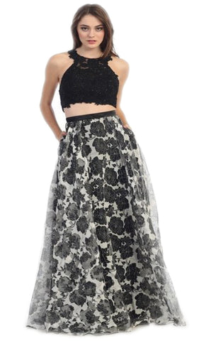 Two Piece Floral Evening Gown