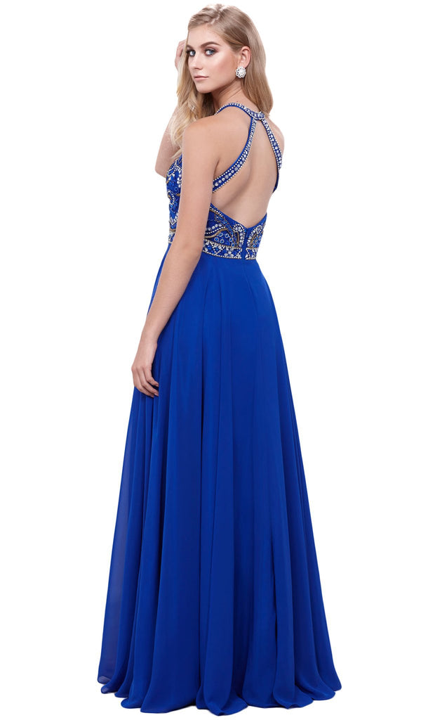 Sleeveless Beaded Halter Neck Long A-line Dress