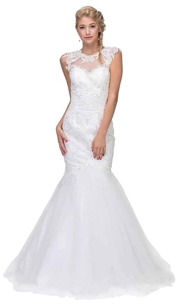 Lace Illusion Mermaid Wedding Evening Gown