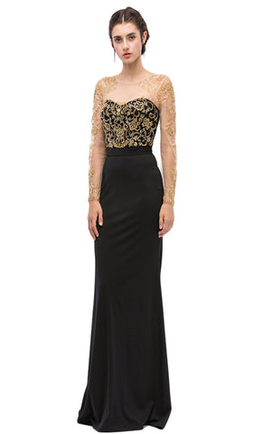 Illusion Bateau Neck Beaded Sheath Evening Gown