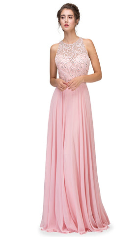 Adorned Illusion Jewel Cutout Back Evening Gown