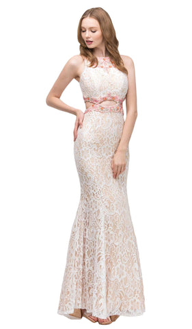 Beaded Lace Fitted Mermaid Evening Dress - ADASA