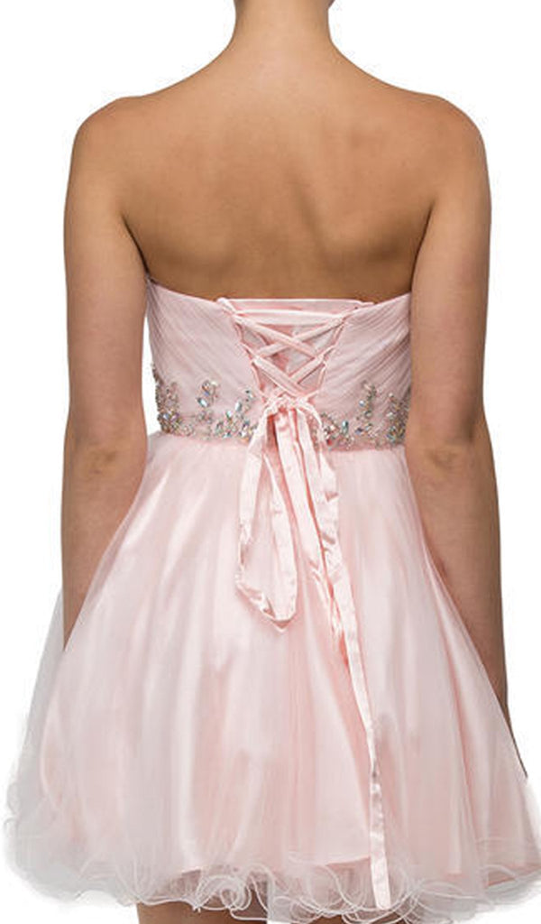 Strapless Jeweled Tiara Motif Cocktail Dress