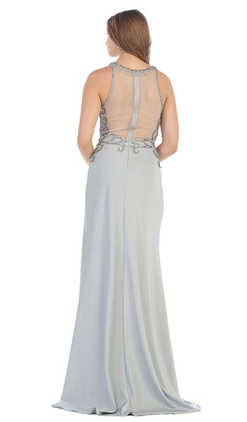 Sleeveless Embellished Jersey Evening Gown