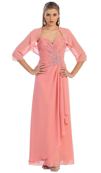 Strapless Sweetheart Formal Gown with Quarter Sleeve Bolero