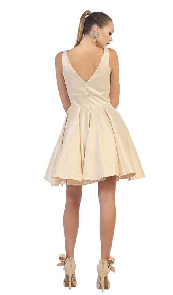 Charming V-Neck and Back A-Line Homecoming Dress - ADASA