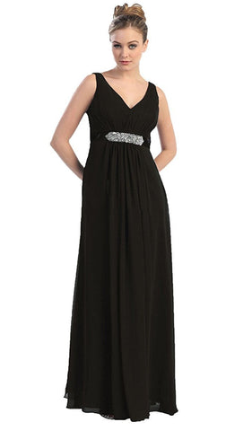 Elegant V-neck Ruched Top Empire Bridesmaid Dress