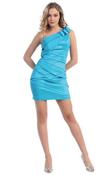Pleated One Shoulder Strap Cocktail Dress
