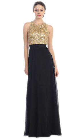 Sleeveless Metallic Sequined Chiffon A-Line Evening Gown