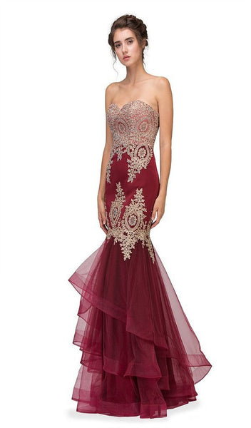Gilt Adorned Strapless Trumpet Evening Gown