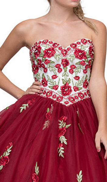 Floral Applique Strapless Sweetheart Evening Gown