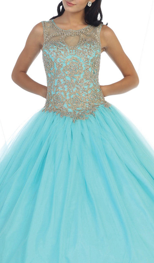 Lace Illusion Jewel Evening Gown