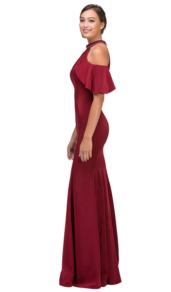 Embellished High Halter Satin Sheath Evening Dress