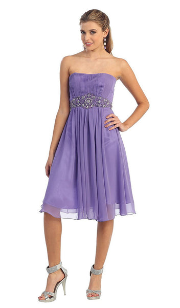Pleated Sweetheart Bejeweled Waist Cocktail Dress