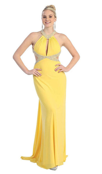 High Halter Keyhole Cutout Prom Gown