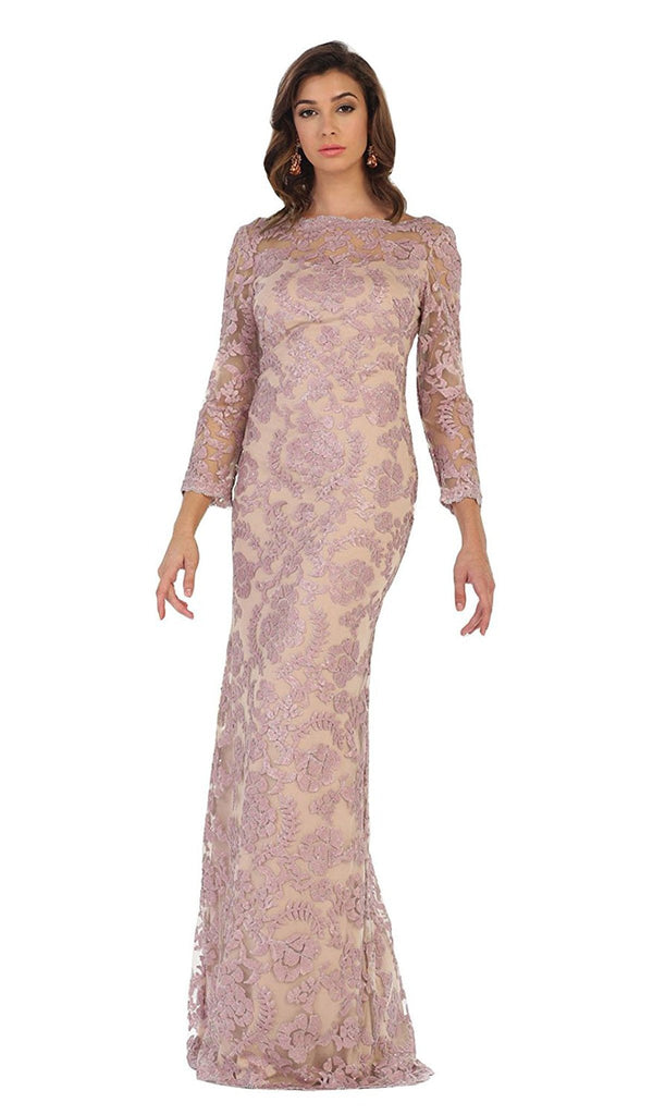Regal Lace Jewel Illusion Evening Gown