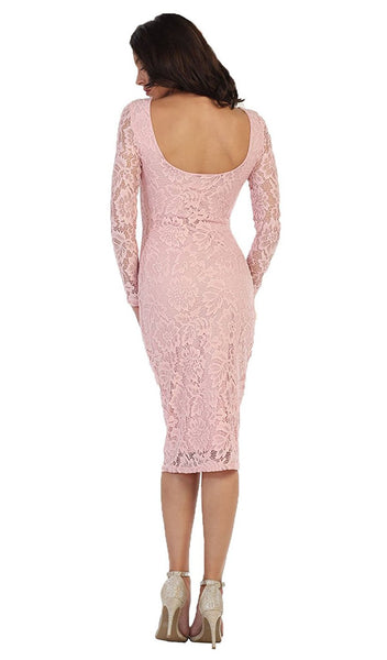 Lace Long Sleeve Bateau Sheath Cocktail Dress