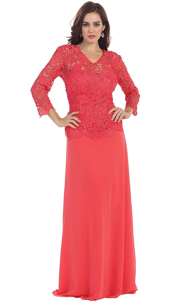 Sheer Quarter Sleeve  Long Lace Evening Gown