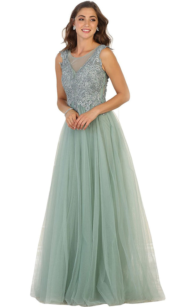 Shimmering Sheer Beaded Evening Gown