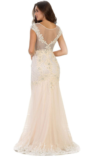 Cap Sleeve Rhinestone Embellished Evening Gown