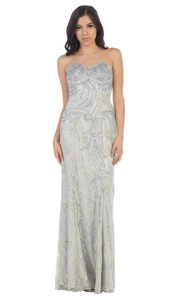 Dazzling Strapless Sequins Lace Applique and Beaded Long Dress - ADASA