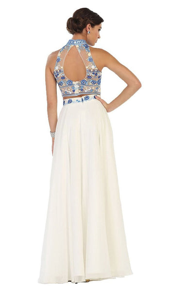 Multi-Floral Embroidered Bodice Two Piece Long Evening Dress
