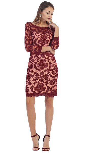Scalloped Damask Lace Illusion Cocktail Dress