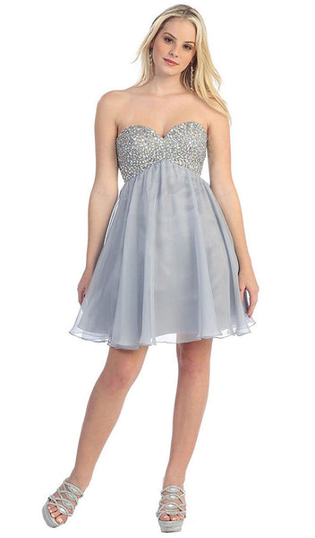 Crystal Encrusted Bust Sweetheart Cocktail Dress - ADASA