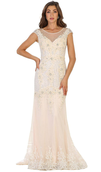 Cap Sleeve Rhinestone Embellished Evening Gown - ADASA